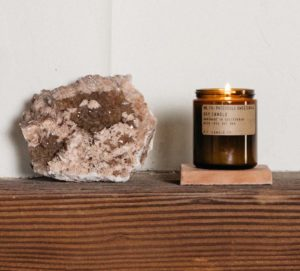 PF CANDLE CO patchouli and sweetgrass lit candle