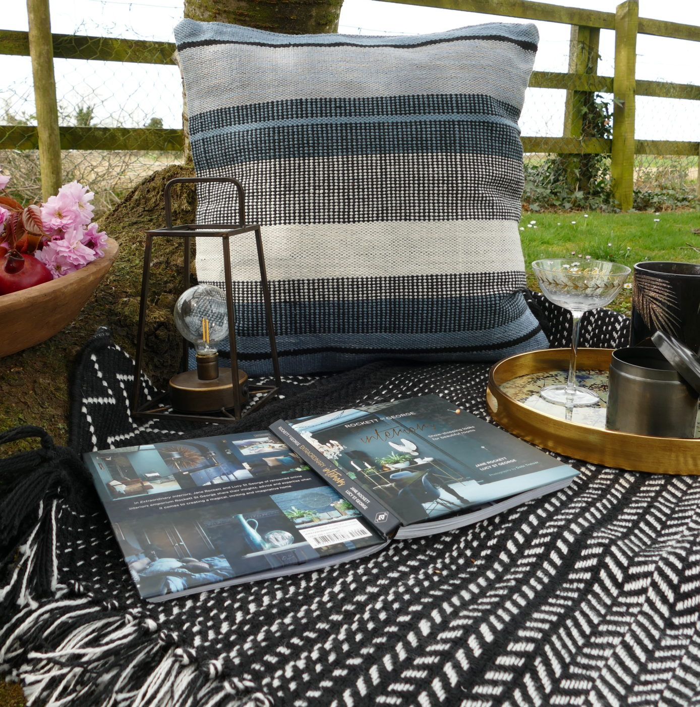 grey and blue outdoor cushion