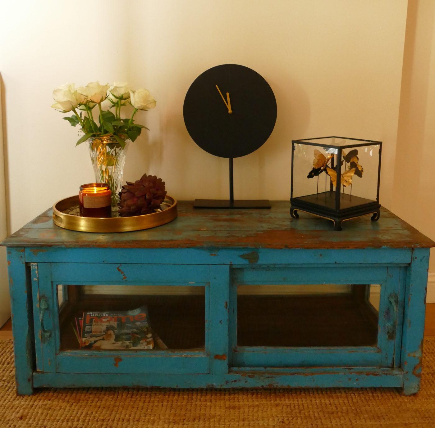 blue painted vintage coffee table