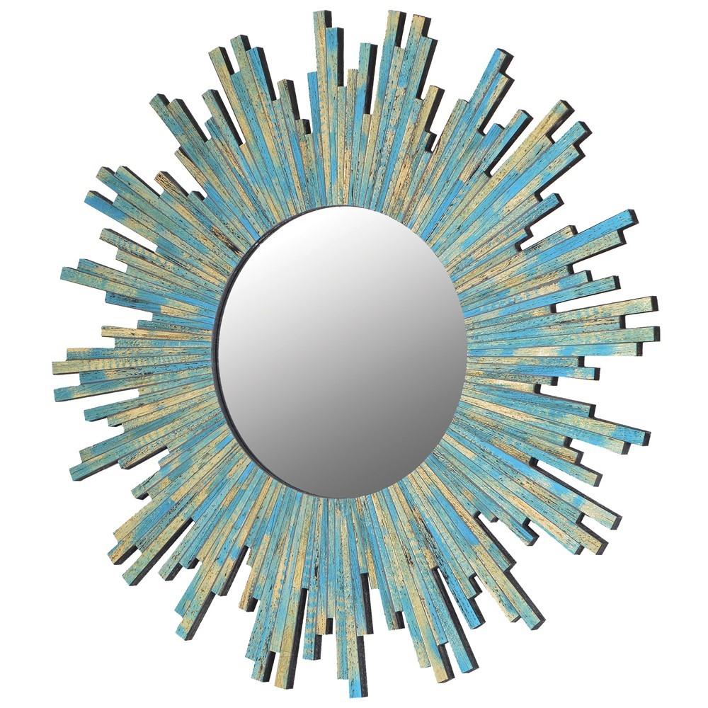 turquoise blue sunburst mirror