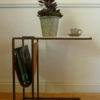 arlo side table with plant and espresso cup
