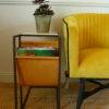 arlo side table and yellow velvet chair sold by stagers lifestyle