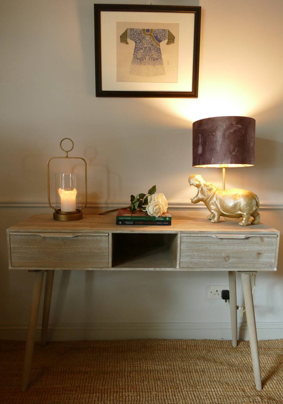 mid century work desk with gold hippo lamp subang rattan lounger sold by stagers lifestyle
