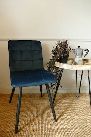 OLIVE DINING CHAIR - BLUE VELVET