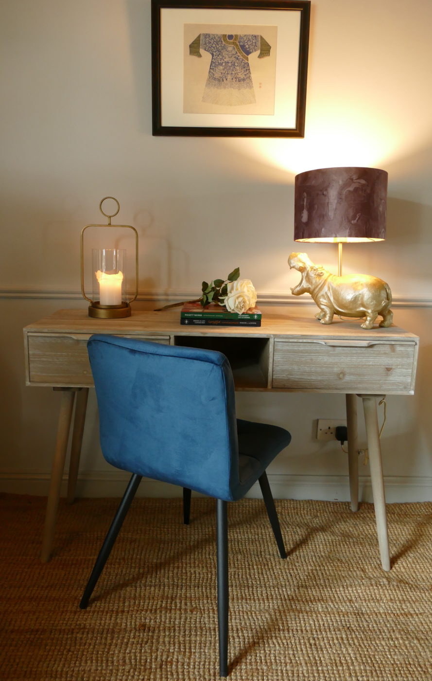 mid century work desk with blue velvet chair subang rattan lounger sold by stagers lifestyle