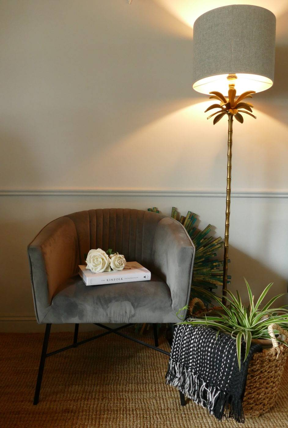 velvet club grey chair in sitting room with lamp from stagers lifestyle shop