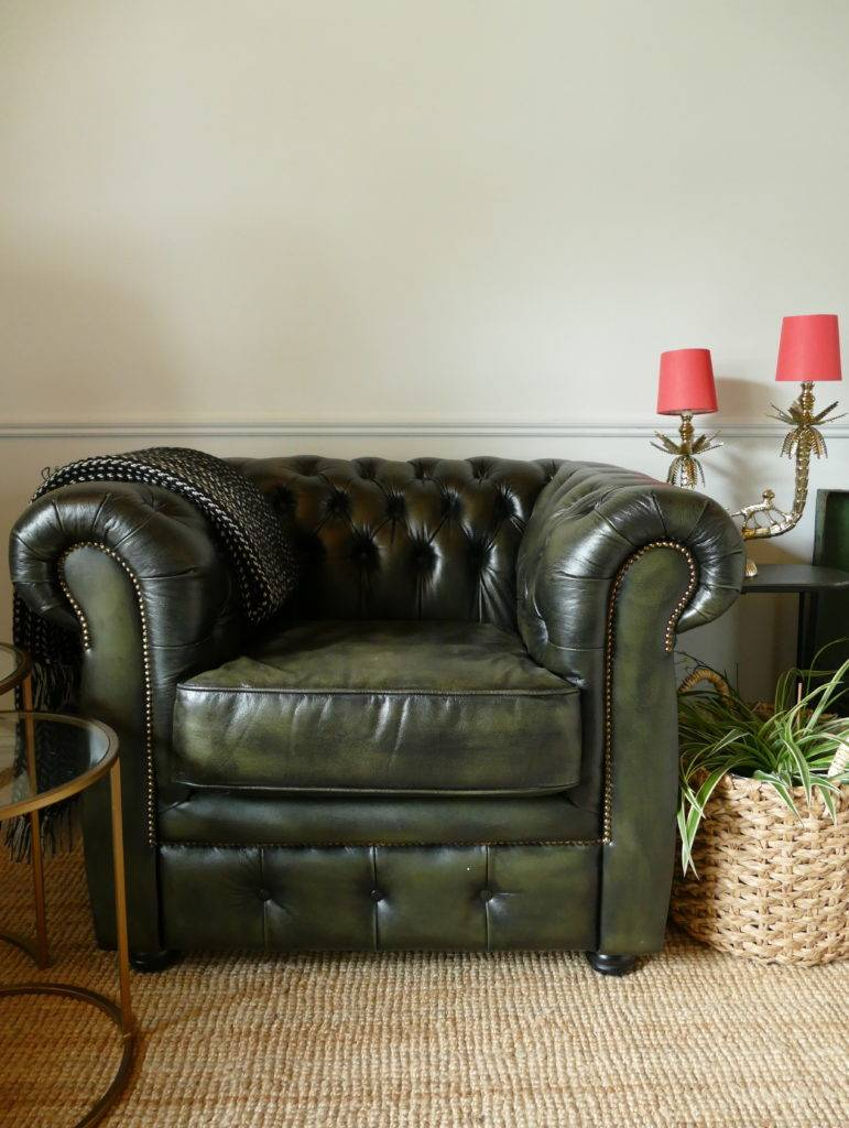 chesterfield armchair in vintage green