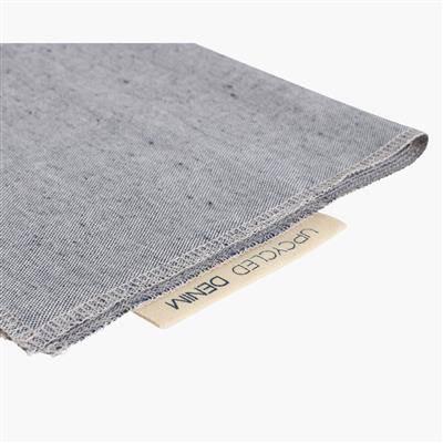 light blue napkins folded with label