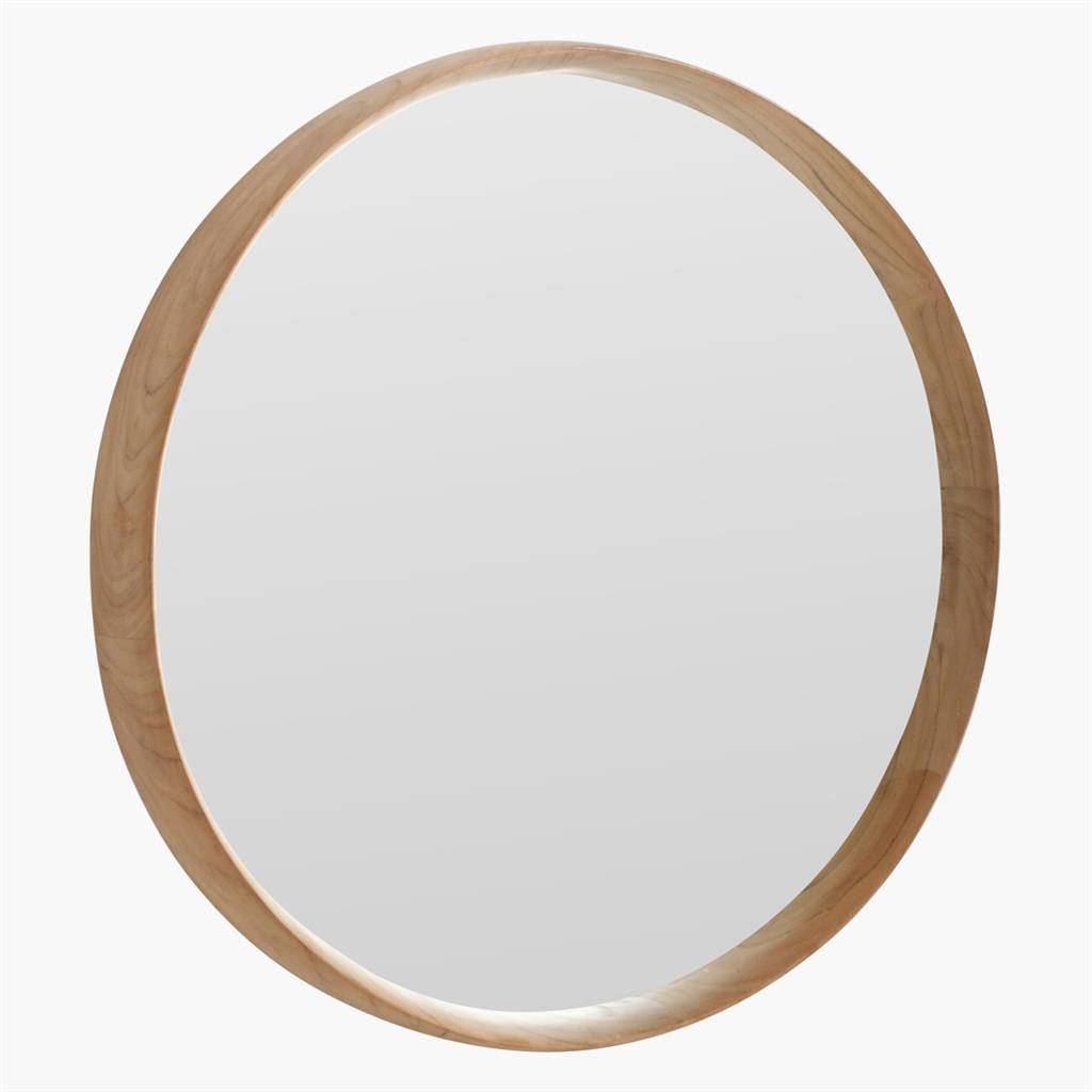round recycled teak wood mirror