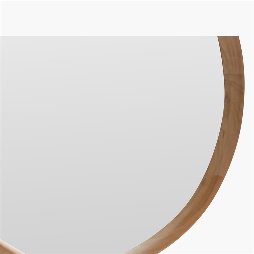 corner of recycled teak wood mirror