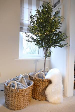 S:2 SEAGRASS BASKETS wth olive tree