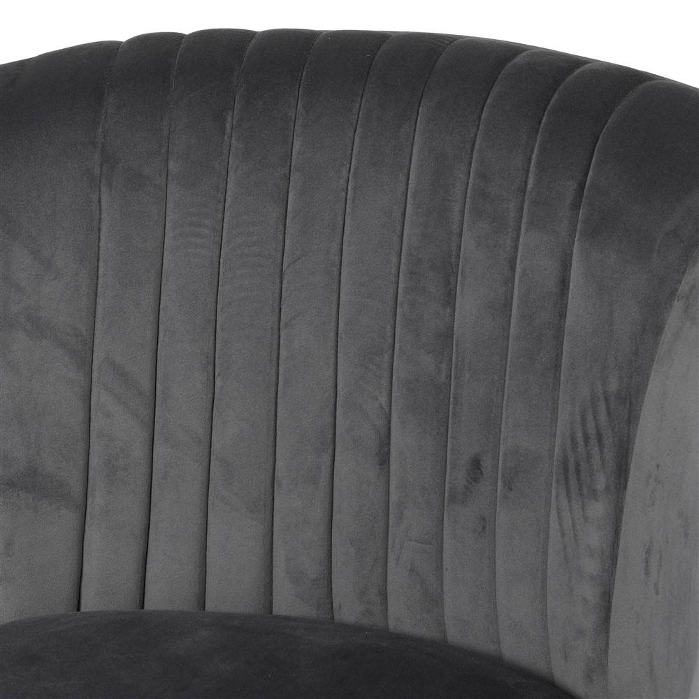 close up of velvet club grey chair seat back