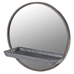 zinc effect mirror with shelf on white background