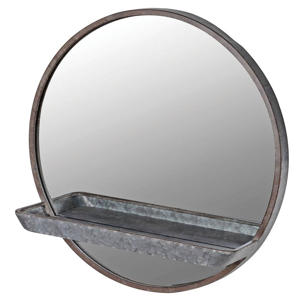 zinc effect mirror with shelf on white background