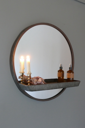 ZINC EFFECT MIRROR WITH SHELF