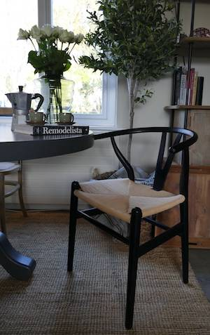 Black Elm Wishbone Chair at dining table