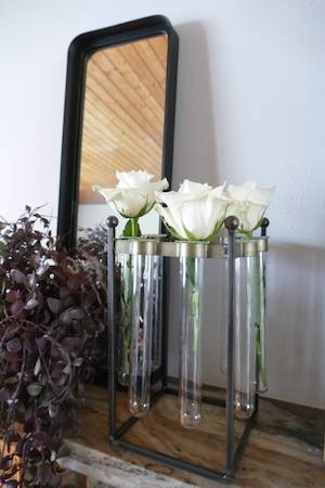 INDUSTRIAL TEST TUBE VASE with mirror