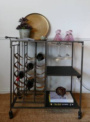 INDUSTRIAL DRINKS TROLLEY WITH GLASSES AND TRAY