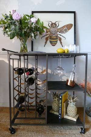 Industrial drinks trolley with accessories