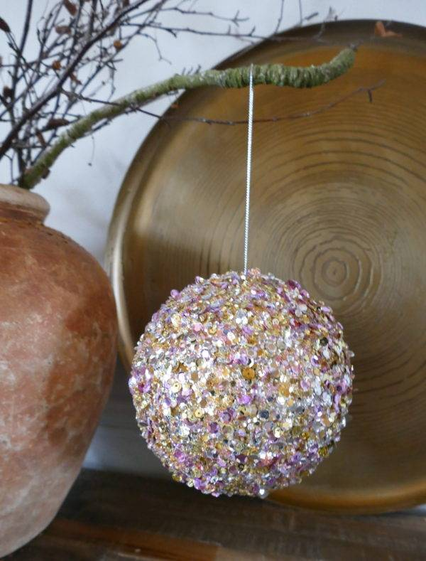 PINK AND GOLD SEQUIN BAUBLE HANGING