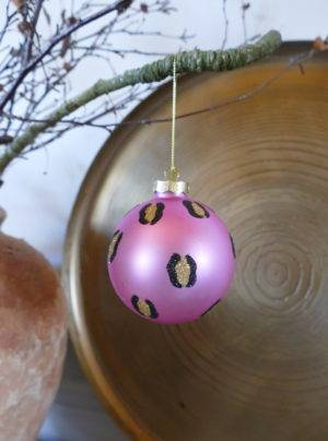PINK LEOPARD BAUBLE HANGING