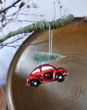 HANGING RED CAR WITH CHRISTMAS TREE