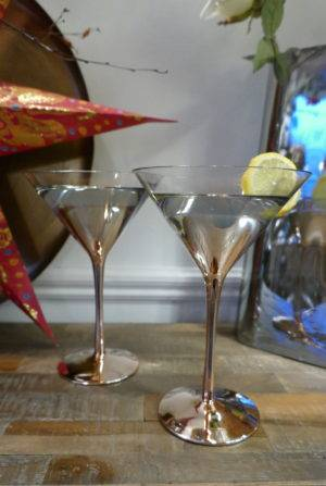 S4 COPPER MARTINI GLASSES ON CONSOLE TABLE
