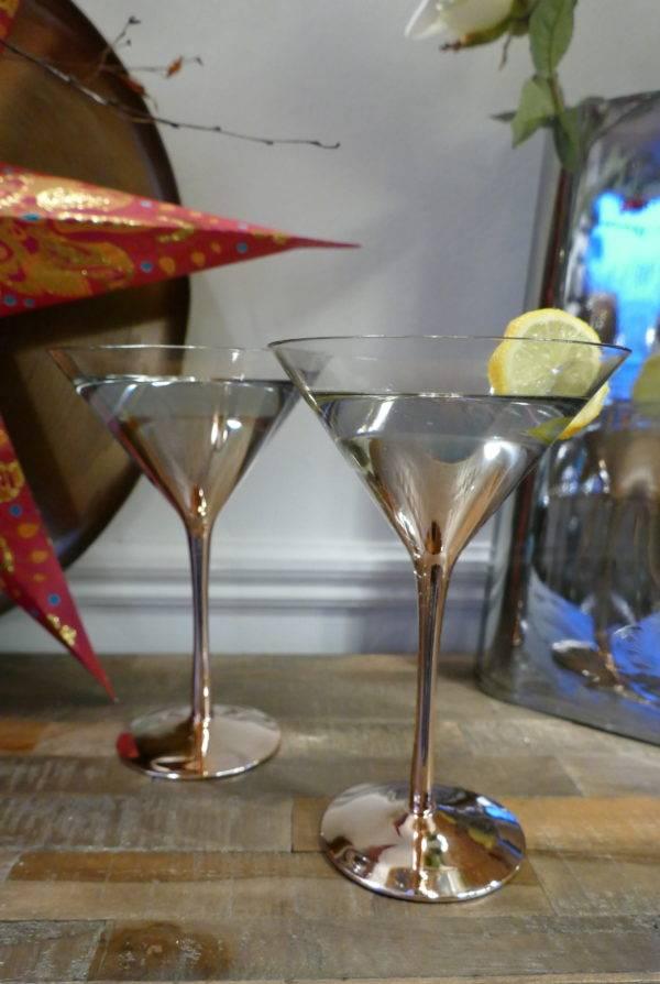 S4 COPPER MARTINI GLASSES ON CONSOLE TABLE