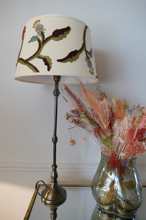 Crewel Embroidery Table Lamp Off