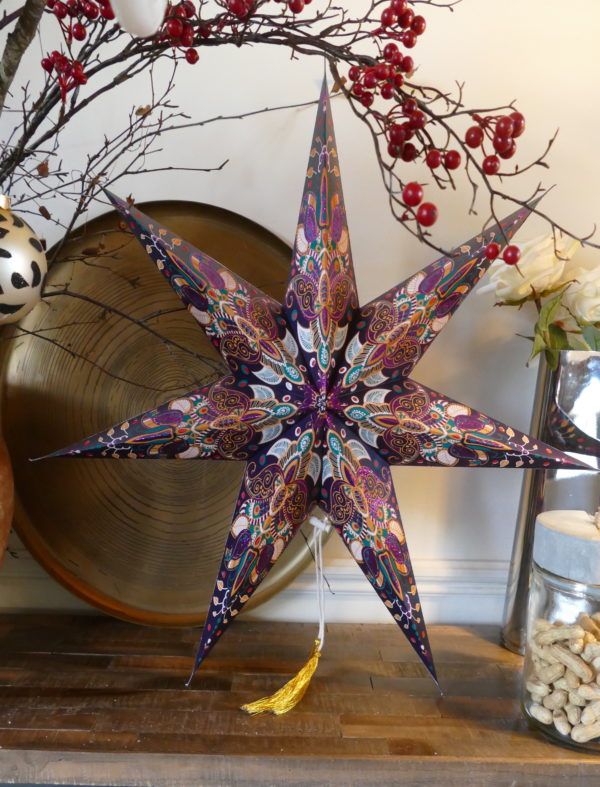 PAPER STAR PURPLE PATTERN (LARGE)