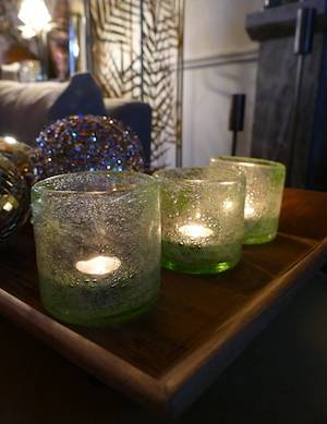 Lime Bubble Candle holder ON TRAY