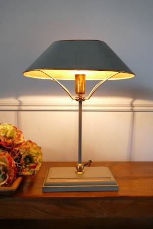 LIBRARY GREY TABLE LAMP ON TEAK TABLE