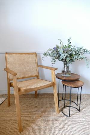 STACKABLE TEAK AND CANE CHAIR WITH TEAK TABLE