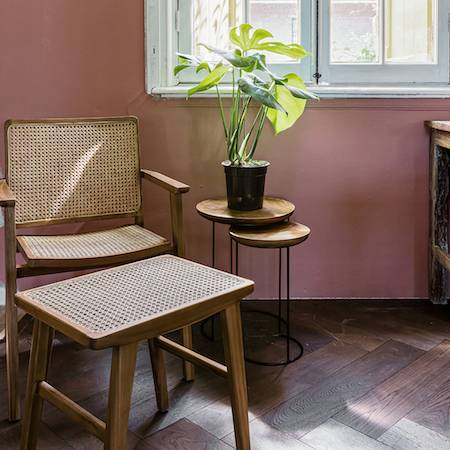 TEAK AND CANE DINING CHAIR WITH TEAK TABLES