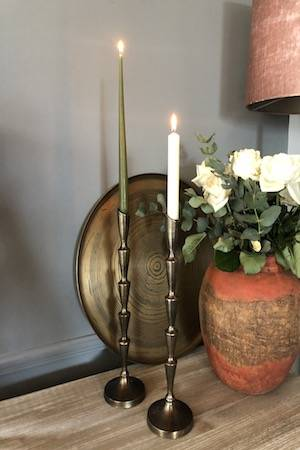 Antique Bronze Candlestick holder ON DESK