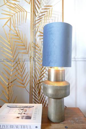Briska lamp and dusty blue shade on bench