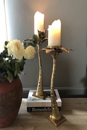 Gold Palm tree Candle holder WITH POT