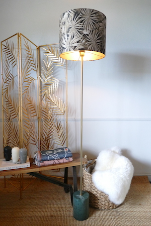 MARBLE FLOOR LAMP AND SHADE WITH PALM SCREEN