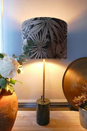 MARBLE TABLE LAMP AND SHADE WITH POT