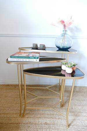 S3 GOLD BLACK NEST OF TABLES
