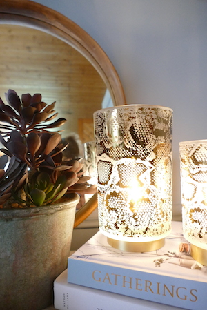 SNAKE PRINT LED LAMP WITH PLANT L