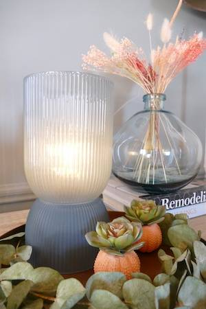 BLUE GREY LED TABLE LAMP LARGE