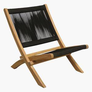 folding outdoor lounger black on white background