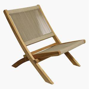 folding outdoor chair taupe on white background