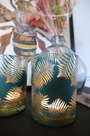 GREEN GOLD HURRICANE CANDLEHOLDER