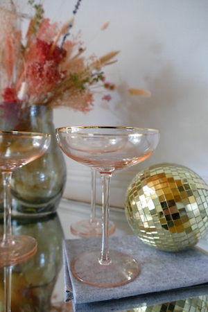 Pink Cocktail Glasses with Gold Rim