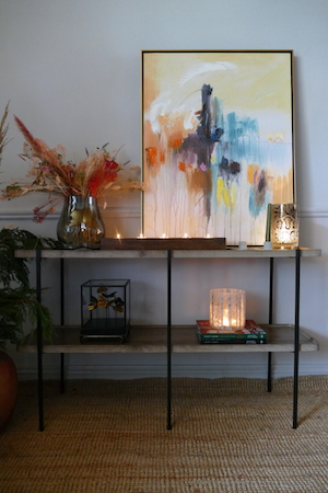 Two Tier pine console table with abstract print
